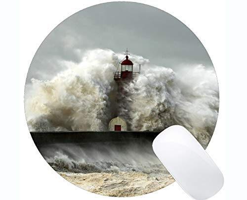 (Yanteng Natural Rubber Round Mouse Pad Printed with Artificial Lighthouse up -Stitched Edges )