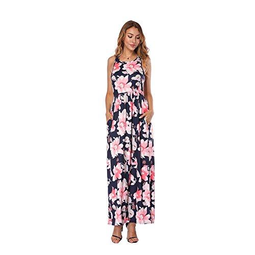 cd55dc1ace758f Kleider Waist Maxi Sommerkleid Rosa High Damen Maxikleid Boho Lover-beauty  Kurzarm Lang Blumen