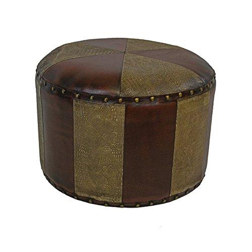 Mini Round Stool - International Caravan YWLF-2526-MX-IC Furniture Piece Mini Round Faux Leather Stool
