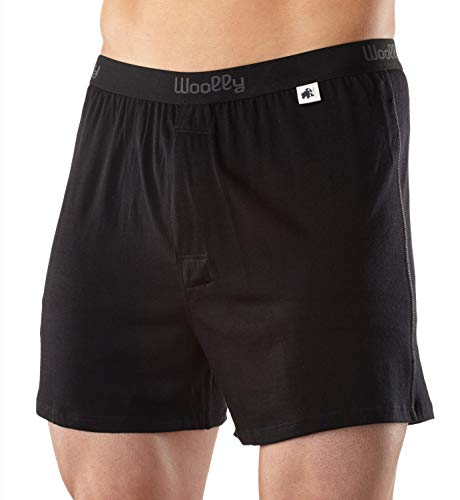 Woolly Clothing Men's Merino Wool Classic Boxer - Ultralight - Wicking Breathable Anti-Odor L BLK