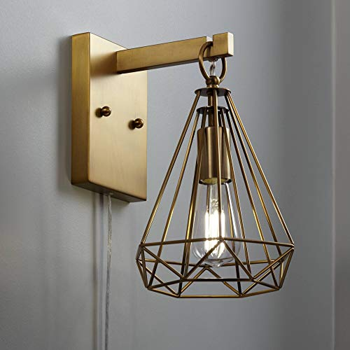 Cecelia Antique Brass Diamond Cage Pin-Up Wall Lamp - 360 Lighting -