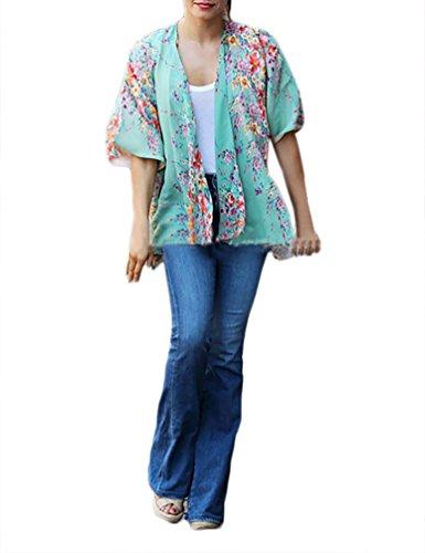 Verde Costumi Ragazza Bikini Up Kimono Mare Copricostume Donna Stampa Fiore Cover Boho Camicia Elegante Di Copri Abbigliamento Vintage Cardigan Fashionable Da Chiffon 1wBdqq