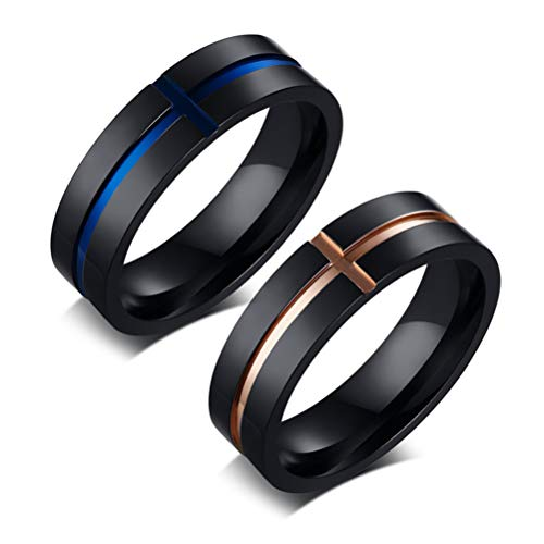 Mens Womens 6mm Stainless Steel Ring Cross Tunnel Two-Tone Couples Wedding Band Fashion Jewelry Rose Gold Size 7
