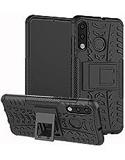 HongMan telefoonhoes compatibel met Huawei Case, Outdoor mobiele telefoon tas Dual Layer Hybrid Case stootvast beschermhoes met standaard, TPU Silicone + Hard PC Cover Bumper, Huawei P30 Lite, zwart