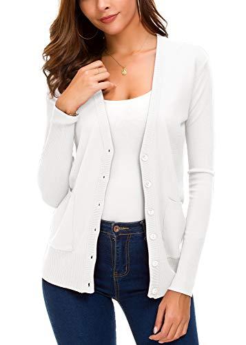 EXCHIC Women's Basic Cardigan Long Sleeve Button Down Thin Coat Autumn Fashion Sweater (M, White)