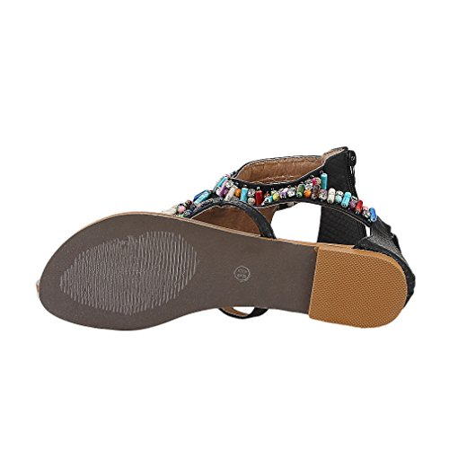 EOZY Sandalia Plana de Dedo Bohemia Flip Flop para Mujer Playa Negro