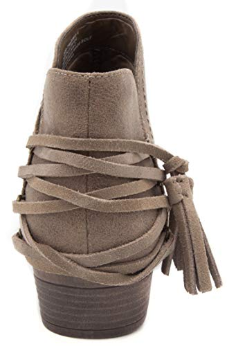 with Women's Tassels Ankle Trusted Bootie Strappy Sugar Block Ladies Heel Boot Taupe 1xadzHd