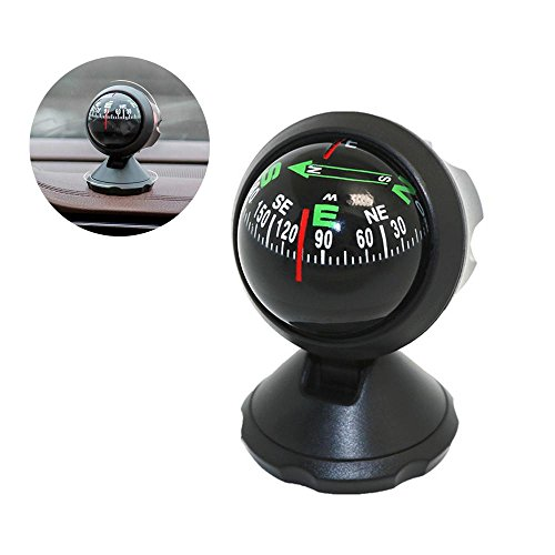 Pawaca Car Compass Ball, Self-adhesive Auto Dashboard Mini Compact Compass and Decorative Ornaments, Universal for Most ()