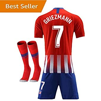 buy popular 995f4 4eed3 2018-2019 Atletico Madrid #7 Griezmann Home Kids Youth Red Soccer Jersey &  Shorts & Socks