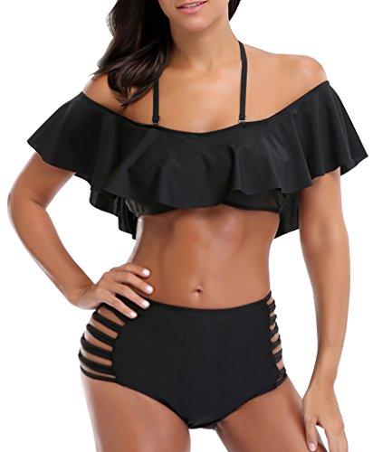 Mini Ruffled Bikini (LANFEI Women Ruffled Off Shoulder Swimsuits High Waisted Bikini Two Piece Set)