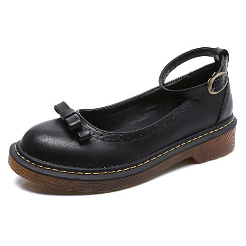 Smilun Girl¡¯s Loafers Smooth Leather Block Heel Western Heel for Girl Round Toe Black Size 6 (Shiny Black Mary Jane)