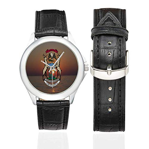 Women's Classic Leather Strap Watch Michigan State Flag Pattern ()