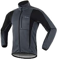 Oweisong Men's Waterproof Cycling Fleece Jacket Bicycle Windproof Softshell Winter Thermal Windbreaker Outwear