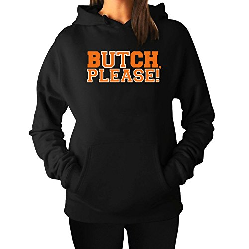 Butch Please girls Long Sleeve Hoody XXL Black
