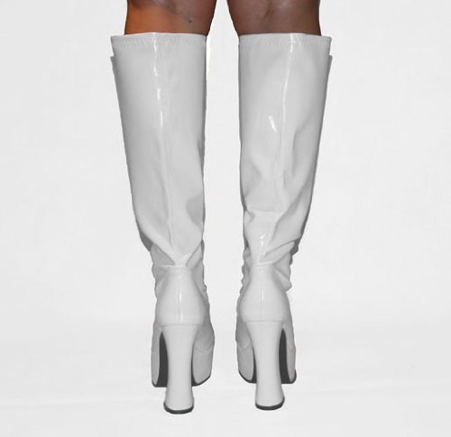 6245dba897f Disco - White Patent PVC Platform 4½ Inch Heel 60s 70s Retro Knee High GoGo  Boots - UK Size 11