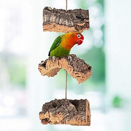 Columpio de corcho para pájaros   hecho de corteza de corcho natural para balancear y mordisquear   Limpieza y desinfección   Juguete para pájaros y accesorios para periquitos, loros, roedores y más