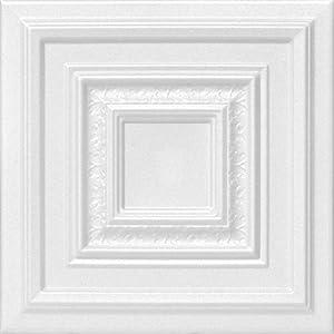 A la Maison Ceilings 1617 Chestnut Grove – Styrofoam Ceiling Tile (Package of 8 Tiles), Plain White