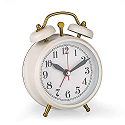Loud Alarm Clock for Girls, 3 Inch Silent Non-Ticking Quartz Double Twin Bell Alarm Clock Beep Sounds Battery Operated Classic Tabletop Desk Alarm Clock for Bedroom