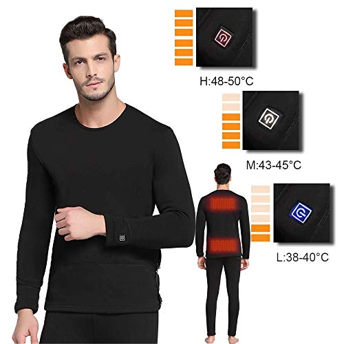 Battery Clothing Heated - FERNIDA Heated Clothes Men/Woman Heating Long Sleeve Thermal Underwear Adjustable Warmth Slimming T Shirt - S/M