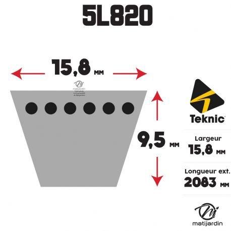 Courroie tondeuse 5L820 Teknic Kevlar Trap/ézo/ïdale Pi/èce neuve 15,8 mm x 2083 mm