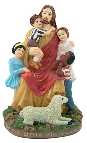 Resin Jesus Christ with Children and Lamb Statue, 61/2 Inch