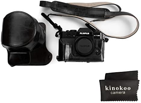 black Fujifilm X-A10//Fujifilm X-A5 and 16-50mm lens with shoulder strap and cleaning cloth kinokoo PU Leather Camera Case for Fujifilm X-A3