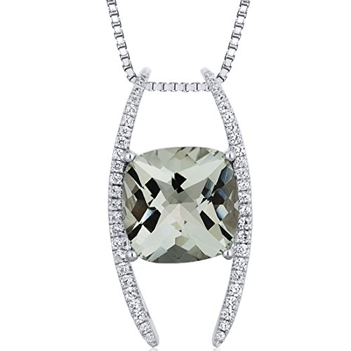 Pendant Green Sliders - Slider Style Large 4.50 carats Cushion Cut Sterling Silver Rhodium Finish Green Amethyst Pendant