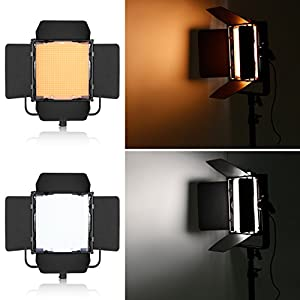Neewer 600 LED 5600K Professional Photography Studio Video Light Panel Camera Photo Lighting with U Shape Bracket for DSLR Cameras Video Camcorders