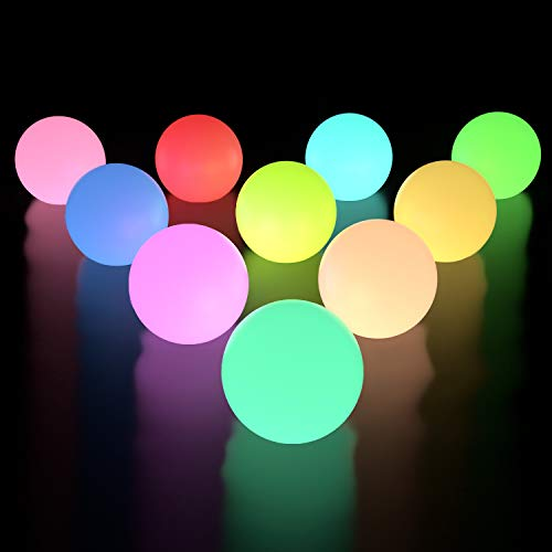 LOFTEK 10-Pack LED Floating Pool Lights, 3-inch RGB Color Changing Pool Balls with Replaceable Batteries, IP65 Waterproof Bath Toys, Perfect for Pool Toys\Pond Decoration -