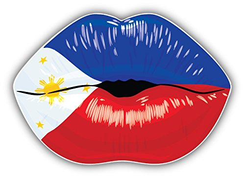 Philippines Flag Lips Art Decor Bumper Sticker 5'' x 4''