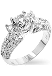 Rhodium Plated Contemporary Engagement Ring with Clear CZ in Silvertone