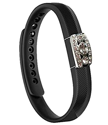 Henoda Jewelry Bling Accessory for Fitbit Flex 2 Bands, Stainless Steel,Plated