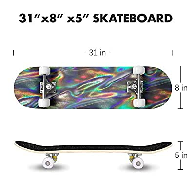 Checkered Flag, Chequered Flag, Motor Sport, Checkerboard, Pattern, Skateboard Complete Longboard 8 Layers Maple Decks Double Kick Concave Skate Board, Standard Tricks Skateboards Outdoors, 31