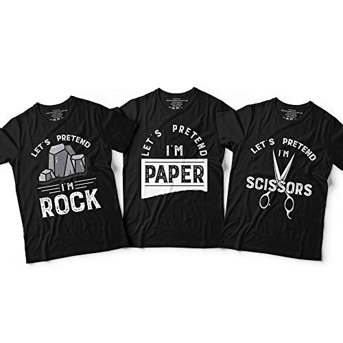 Rock Paper Scissors Matching Halloween Costume Triplets Sibling BFF Group Of 3 Customized Handmade Hoodie/Sweater/Long Sleeve/Tank Top/Premium T-shirt]()