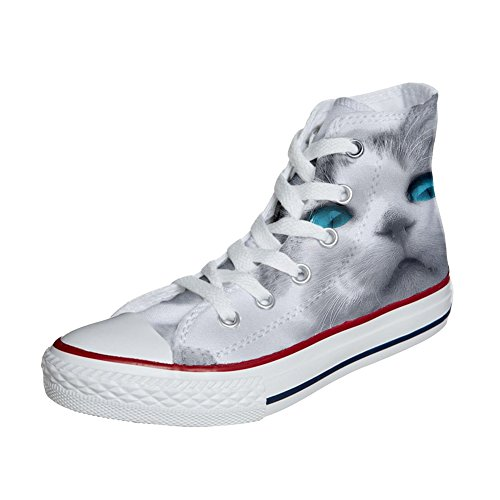 Scarpe Converse All Star personalizzate (scarpe artigianali) White cat with blue eyes