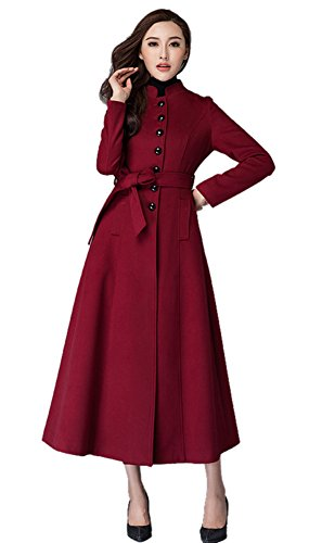 (Chickle Women's Belt Single Breasted Walker Long Wool Dress Coat L Burgundy)