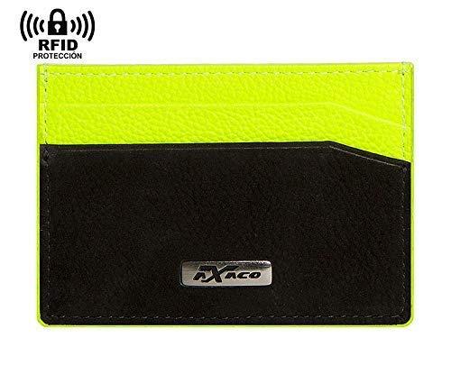 Cartera tarjetero de piel, para hombre y mujer, pequeño, 4 ranuras para tarjetas, bolsillo para billetes, bloqueo RFID-NFC. Negro y amarillo fluor. Fabricado en Ubrique (España): Amazon.es: Handmade