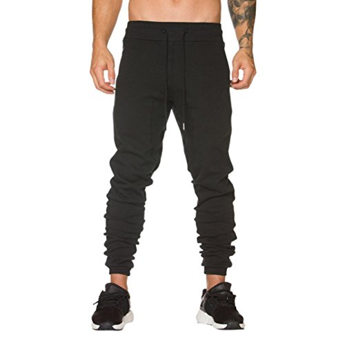 Perman Mens Sweatpants, Summer Sports Slacks Casual Elastic Baggy Zipper Pocket Slim Pants Trousers (M, Black)
