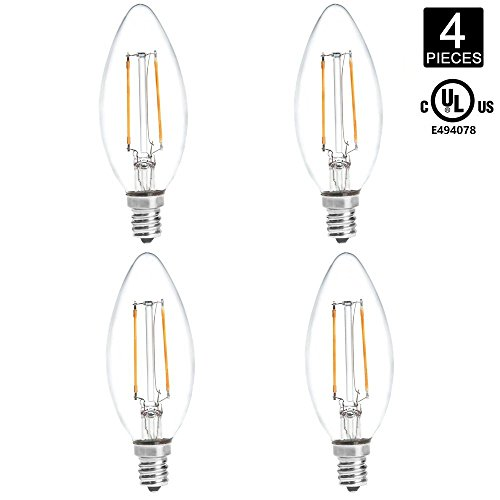 HERO-LED B10-DS-2W-WW27 Dimmable B10 E12 2W Candelabra Style LED Filament Chandelier Light Candle Bulb, 25W Equivalent, Warm White 2700K, UL-Listed, - Light Seven Candle Chandelier