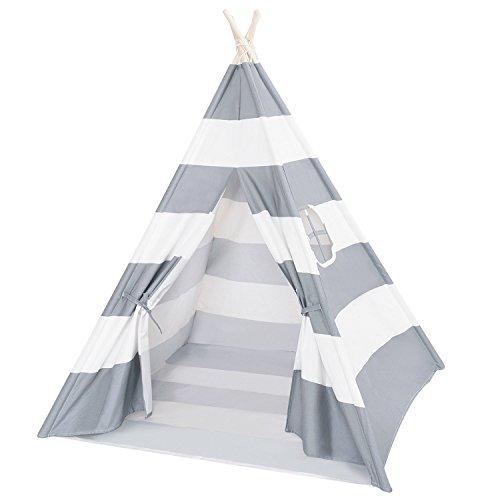 DalosDream Teepee Tent for Kids-100% Natural Cotton Canvas Children Tent-Grey Striped