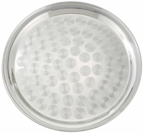 Winco Round Tray with Swirl Pattern, 16-Inch, Stainless -