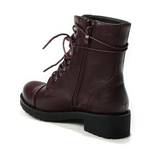 Damen Stiefeletten Schuhe Red Boots Flache Nieten Schnürer Schnürboots halbhoche Reissverschluss HERIXO 1FqHd6w1