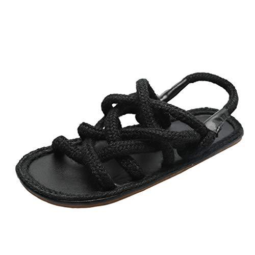 Flat Casual Sandals Women Sole Open Toe Hemp Rope Personality Roman Shoes Black