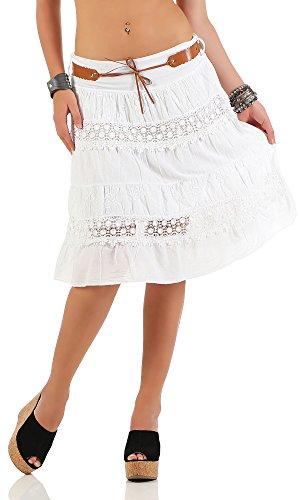 malito verano falda con cinturón tramo et cinturón 16167 Mujer Talla Única blanco