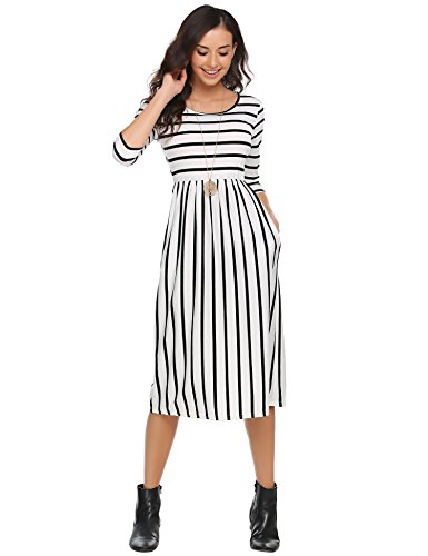 Halife Women's Striped Printed Midi Dress 3 4 Sleeve Empire Dress White,L