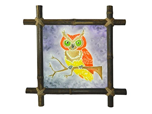 Bamboo Batik (Owl painting Bird painting Rustic decor Nursery decor Kids painting with Bamboo Frame Rustic decor Batik Silk painting Baby Framed painting fabric Baby shower gift art Artwork Kids room decor)
