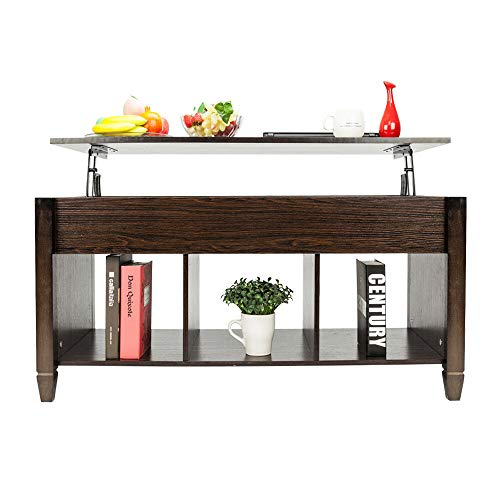 - Cypress Shop Lift-Top Coffee Table Wood Sofa Side Couch Side Table with Lower Under Hidden Open Shelf Storage Compartment Rack Organizer Cabinet Shelves for Living Room Home Furniture (Brown)