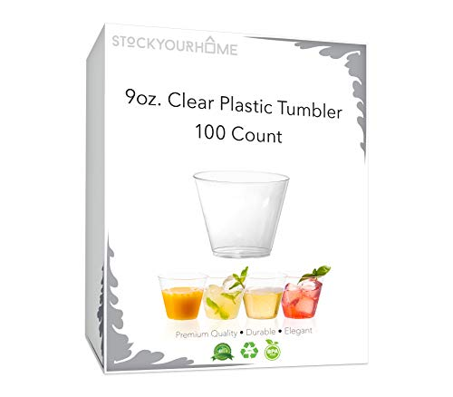 9 oz Clear Plastic Cups 100-Count Disposable Party Cups - Old Fashioned Reusable Plastic Tumblers For Cocktail Drinks, Fruits, Snacks, Appetizers & ()