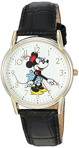 Disney Minnie Mouse Women's Two Tone Cardiff Alloy Watch, Black Leather Strap, W002769