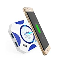 Fast Wireless Charger,JianHan Wireless Charging Stand Qi Charger with PowerPort USB Hub Charger Combo for iPhone X iPhone 8 iPhone 8 Plus Samsung Galaxy S7 S7 Edge S6 S6 Edge S6 Edge Plus Note 5 Nexus 4 Nexus 5 Nexus 6 Lumia 950xl/950 (Blue)
